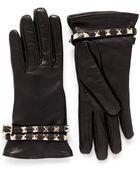 Valentino Rockstud Strap Leather Gloves - Lyst