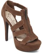 Jessica Simpson Leather Strappy Platform Sandals - Lyst