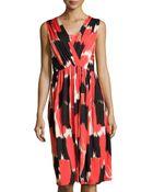 Rachel Pally Brushstroke-Print Ruched Midi Dress - Lyst