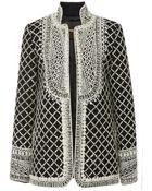 Naeem Khan Lattice Work Embroidered Wool Jacket - Lyst