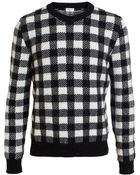 Saint Laurent Wool-Blend Check Jumper - Lyst