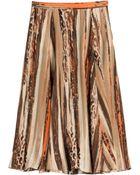 Ferragamo Printed Silk Midi Skirt - Lyst