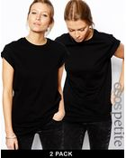 Asos Boyfriend T-Shirt With Roll Sleeve 2 Pack Save 20% - Lyst