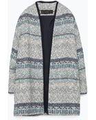 Zara Jacquard Coat - Lyst