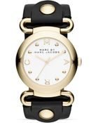 Marc By Marc Jacobs Molly Black Leather Strap Watch 36mm - Lyst