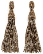 Oscar de la Renta Beaded Tassel Clip-On Earrings - Lyst