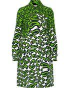Miu Miu Printed Wool And Silk-Blend Coat - Lyst