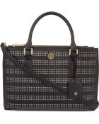 Tory Burch Robinson Perforated Mini Double Zip Tote Bag - Lyst