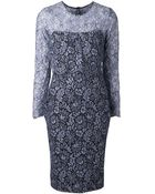 Lela Rose Floral Lace Pencil Dress - Lyst