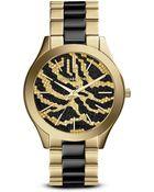 Michael Kors Zebra Print Slim Runway Watch, 42Mm - Lyst