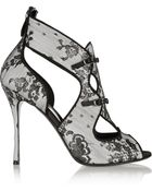 Nicholas Kirkwood Lace-Covered Leather Sandals - Lyst