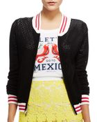 Rebecca Minkoff Perforated Bomber Jacket - Lyst