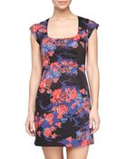 French Connection Floral Cap Sleeve Dress - Lyst