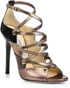 Jimmy Choo Linger Strappy Patent & Leather Sandals - Lyst