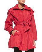 Donna Karan New York Packable Front-Zip Anorak W/ Bow Belt - Lyst
