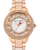 Betsey Johnson Women'S Rose Gold-Tone Stainless Steel Bracelet 40Mm Bj00157-20 - Lyst