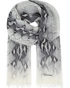 Roberto Cavalli Snake Print Cashmere Shawl - Lyst