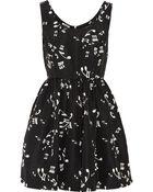 Miu Miu Printed Silk-Faille Mini Dress - Lyst