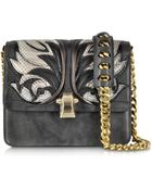 Roberto Cavalli Hera Charcoal Leather And Ayers Fire Patchwork Shoulder Bag - Lyst