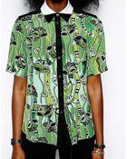 Ostwald Helgason Silk Printed Shirt - Lyst