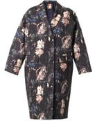 MSGM Floral-Print Wool And Silk-Blend Coat - Lyst