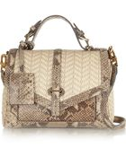 Tory Burch 797 Snake-Effect Leather And Raffia Tote - Lyst