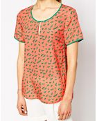 See U Soon Bird Print Top With Contrast Piping - Lyst