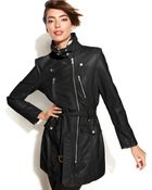 Kenneth Cole Reaction Faux-Leather Motorcycle Trench Coat - Lyst