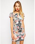 Asos Mini Sexy Pencil Dress In Mirror Floral Print - Lyst