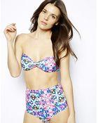 Asos Prism Print Bandeau Bikini Top - Lyst