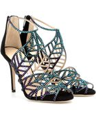 Jimmy Choo Kaci Crystalembellished Suede Sandals - Lyst