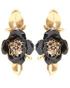 Oscar de la Renta Flower Clip-On Earrings - Lyst