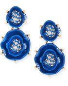Oscar de la Renta Crystal Rose Drop Earrings - Lyst