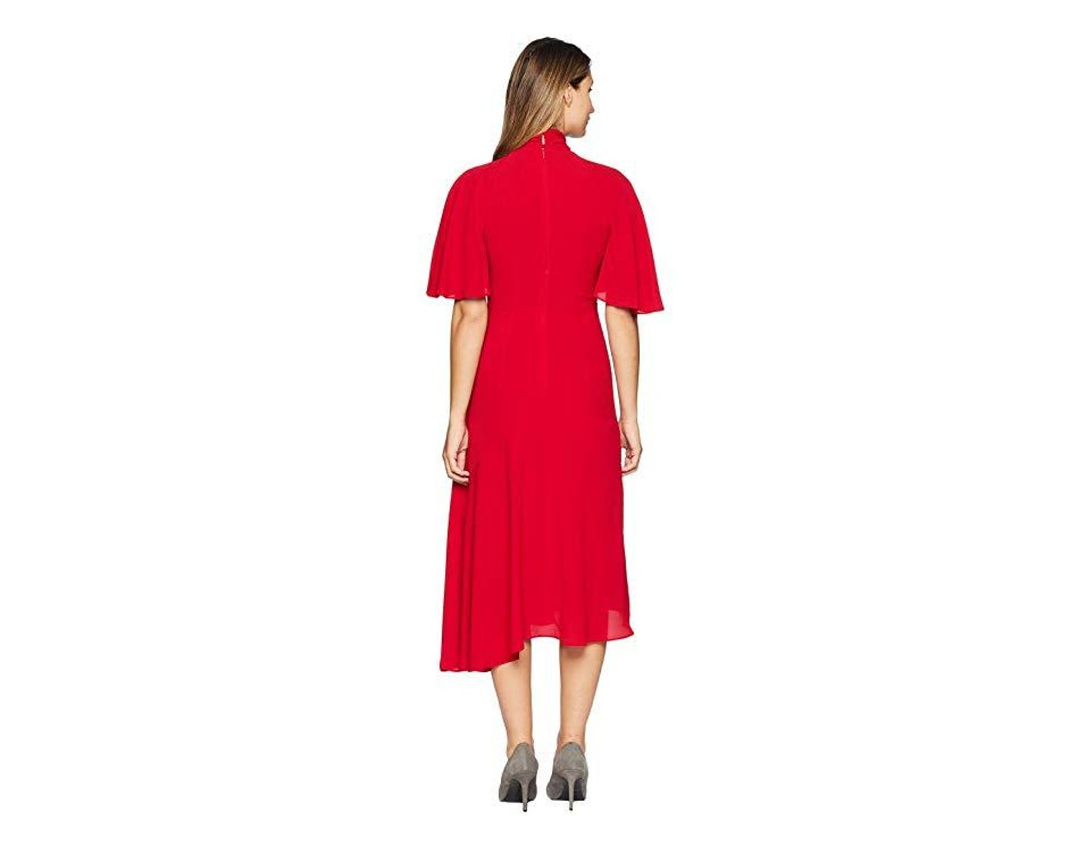 d8bb5d46 Maggy London Catalina Crepe Twist Neck Asymmetrical Midi Dress (cranberry)  Dress in Red - Save 44% - Lyst