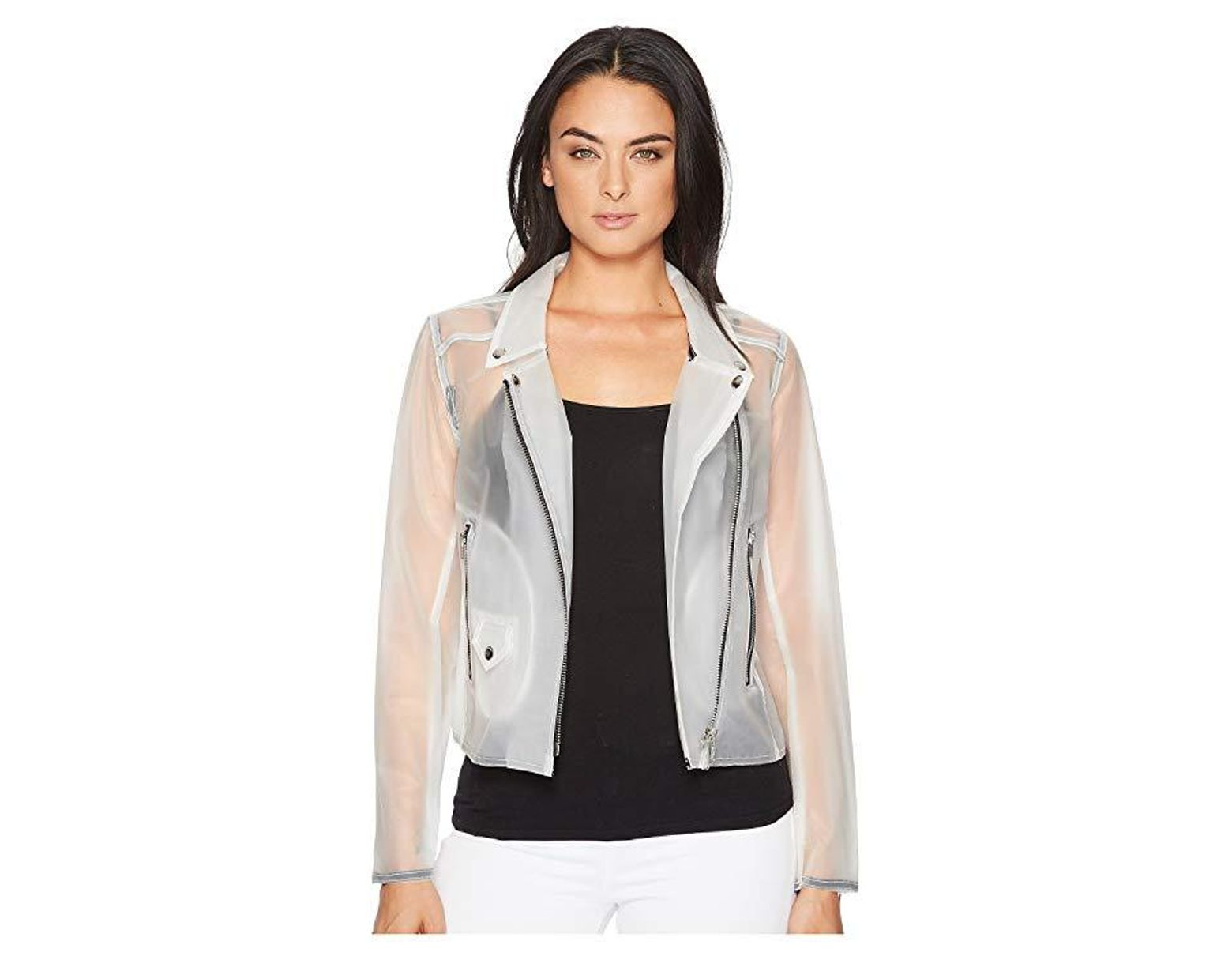 18eba79c75 Blank NYC Frosted Plastic Moto In Frosted White (frosted White) Coat in  White - Save 26% - Lyst