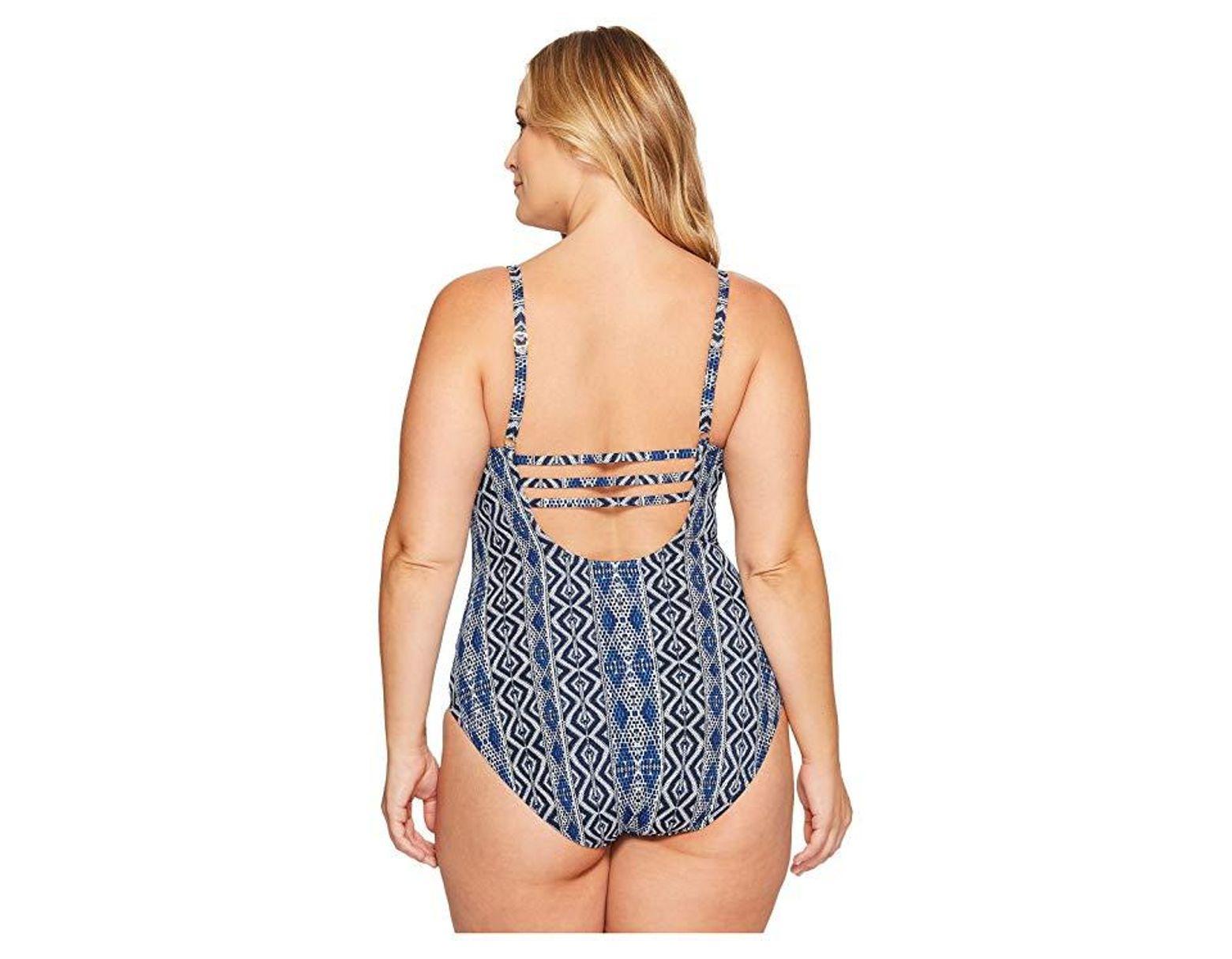 7666d86783e La Blanca Plus Size Designer Jeans Keyhole Ots One-piece (indigo) Swimsuits  One Piece in Blue - Save 57% - Lyst