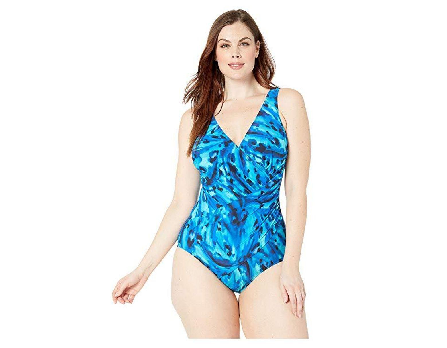 d0b75a2514d398 Miraclesuit Plus Size Ocean Ocelot Oceanus One-piece (blue) Swimsuits One  Piece in Blue - Save 23% - Lyst