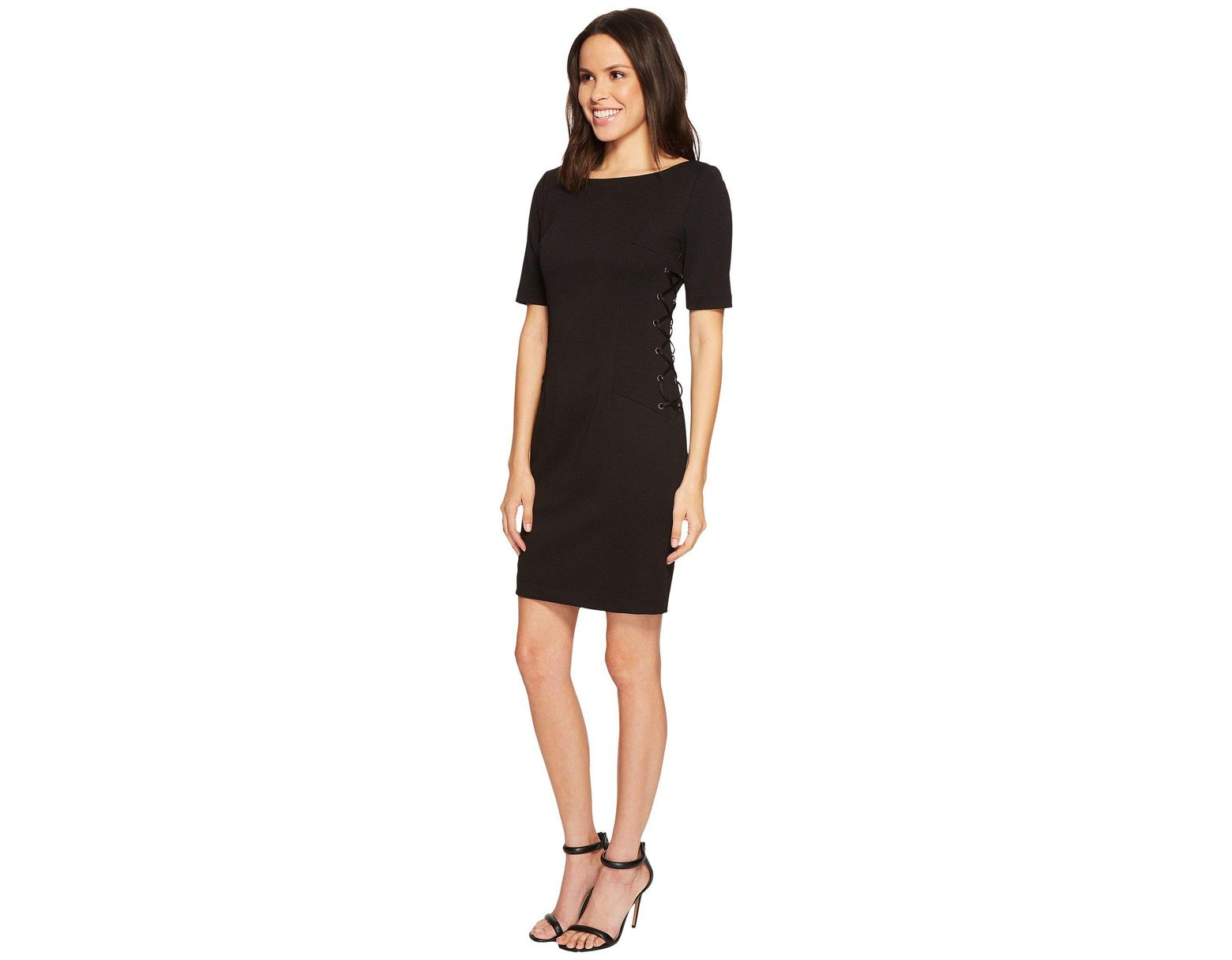 ad2fcd058186 Adrianna Papell Micro Ottoman Sheath Dress With Lace-up Detail And Elbow  Sleeve in Black - Save 51% - Lyst