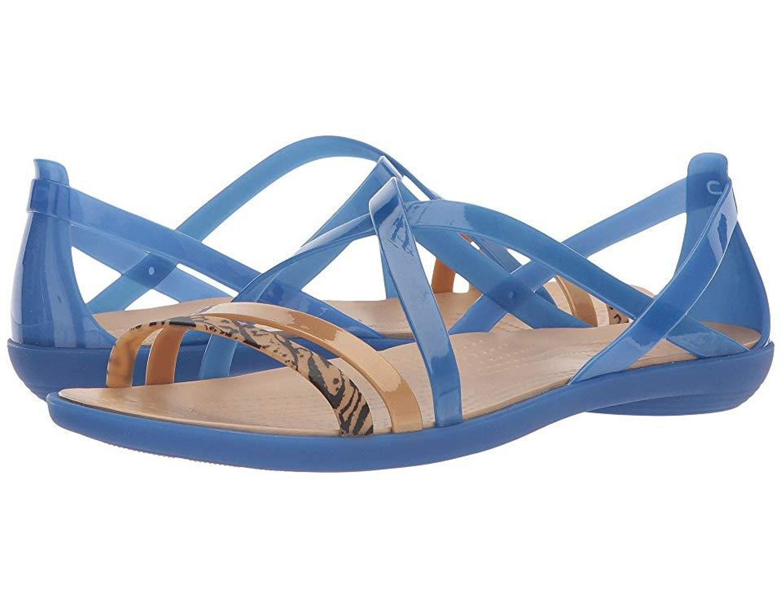 8e7f057981 Crocs™ Isabella Graphic Strappy Sandal (blue Jean/gold) Shoes in Blue -  Save 19% - Lyst