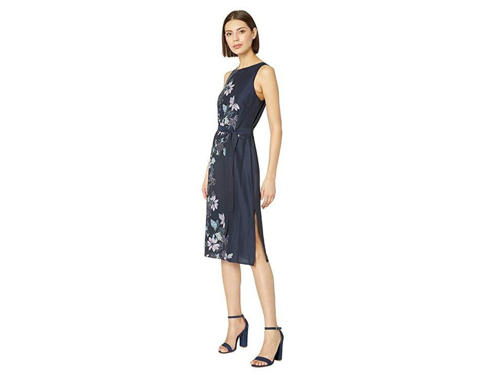 3586f84adf Vince Camuto Sleeveless Floral Vines Tie Waist Dress (classic Navy) Dress  in Blue - Save 62% - Lyst