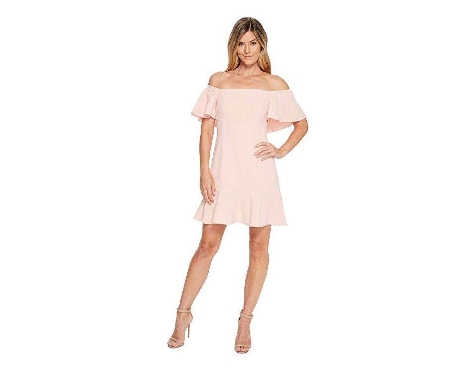 c73db67ae36797 Vince Camuto Off The Shoulder Dress With Top Ruffle And Flounce (blush)  Dress in Pink - Save 64% - Lyst