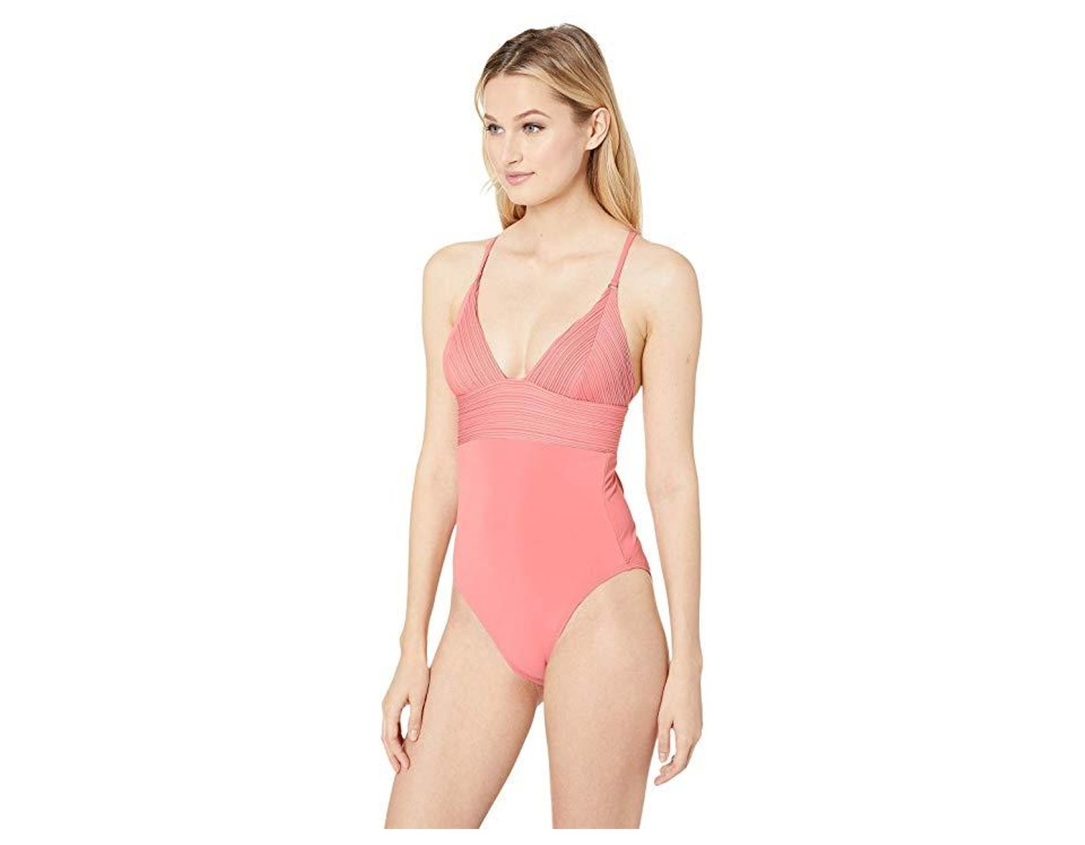 9495e55e7e2e2 Robin Piccone Lily V-neck One-piece (pink Lemonade) Swimsuits One Piece in  Pink - Lyst