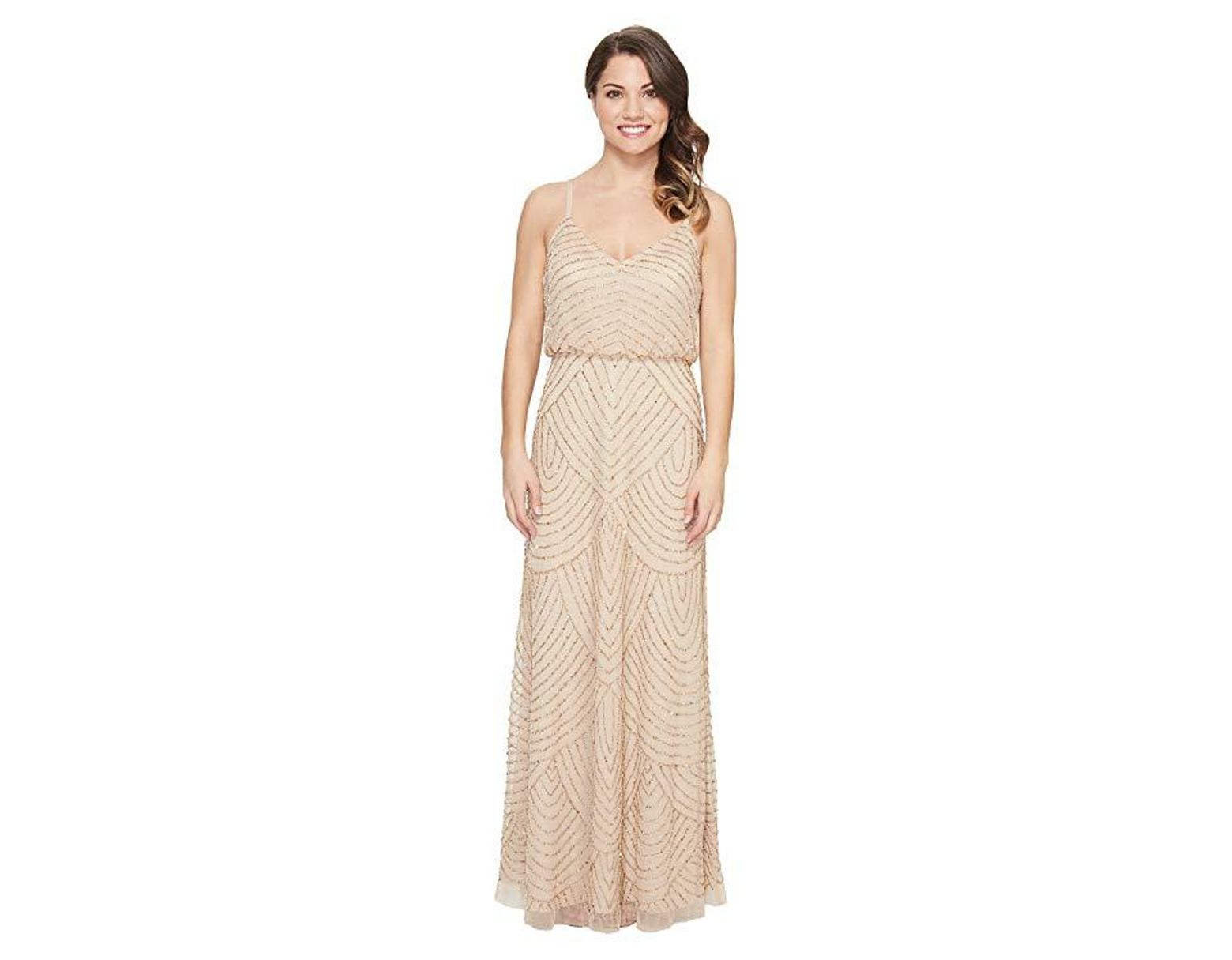 a20593ef1 Adrianna Papell Petite Long Beaded Blouson Slip Dress (champ/gold) Dress in  Natural - Lyst
