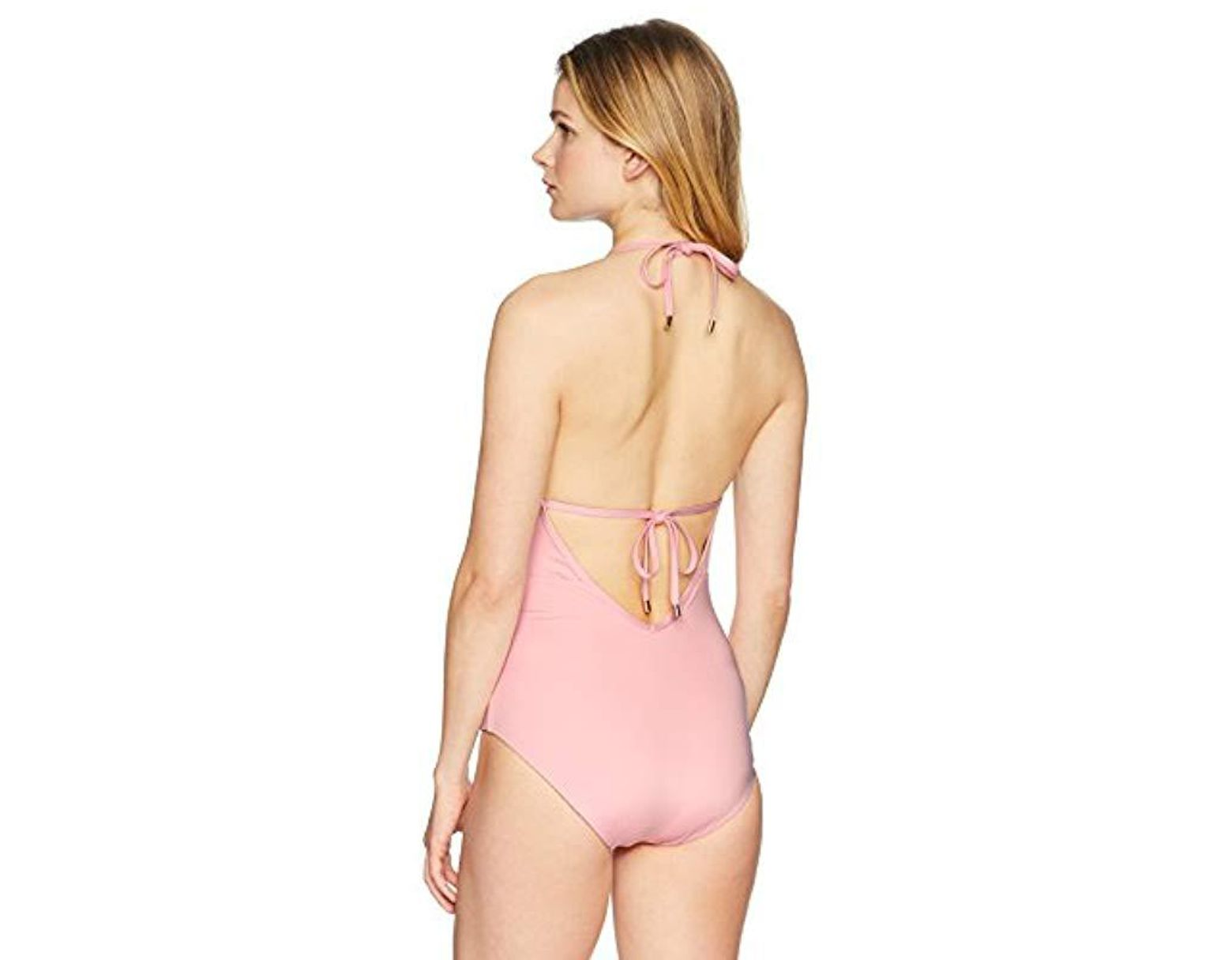 d7a091ef972d0 Laundry by Shelli Segal Scallop Lace Plunge One Piece Swimsuit in Pink -  Save 79% - Lyst
