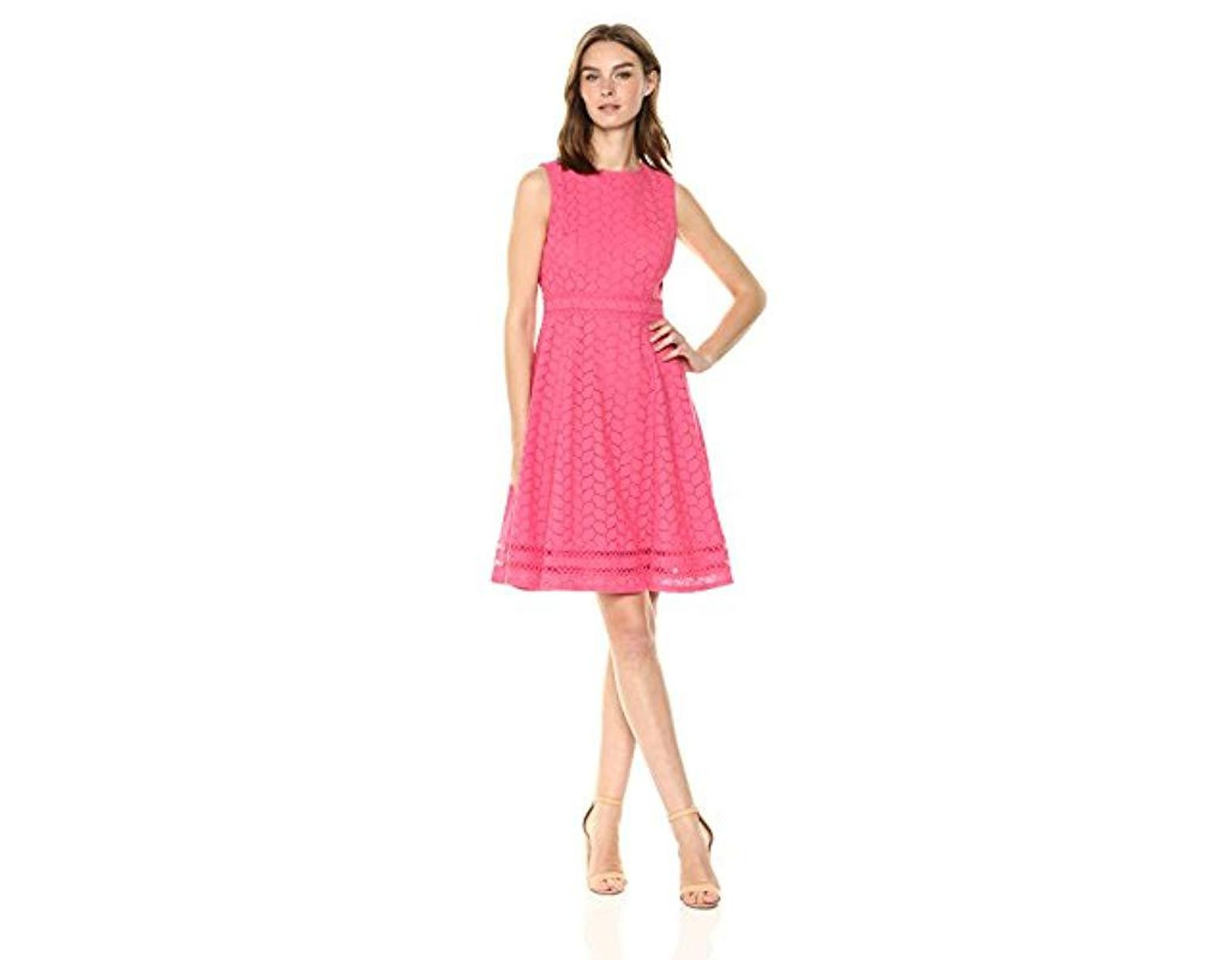1df767eb164 Calvin Klein Sleeveless Cotton Eyelet Fit And Flare Dress in Pink - Lyst