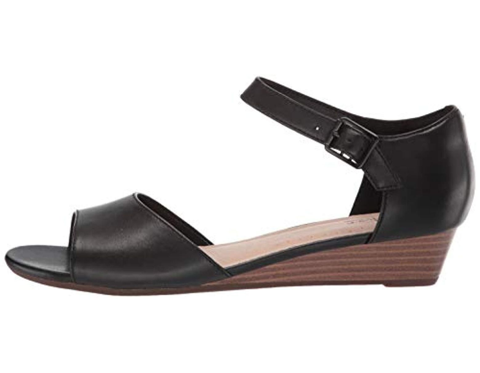 8832f1ba65 Clarks Abigail Jane Wedge Sandal in Black - Save 29% - Lyst