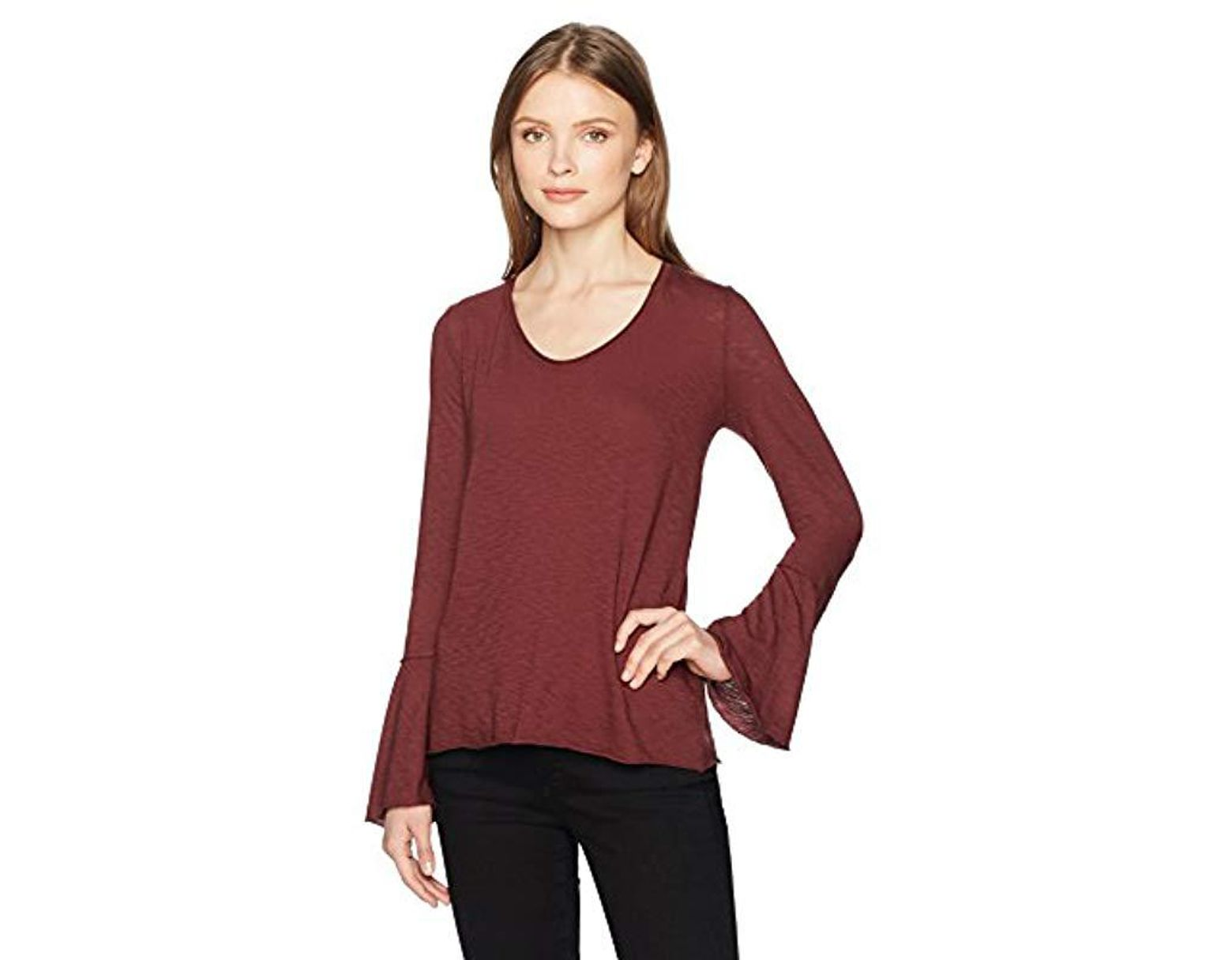 68620f487 Michael Stars Supima Cotton Slub Soft V-neck Bell Sleeve Top in Red - Save  29% - Lyst