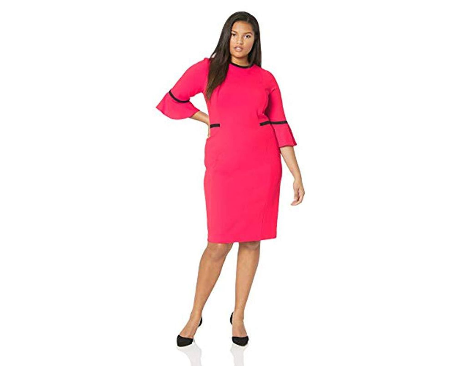 91c8cc39 Calvin Klein Plus Size Bell Sleeve Dress With Contrast Piping in Pink - Lyst