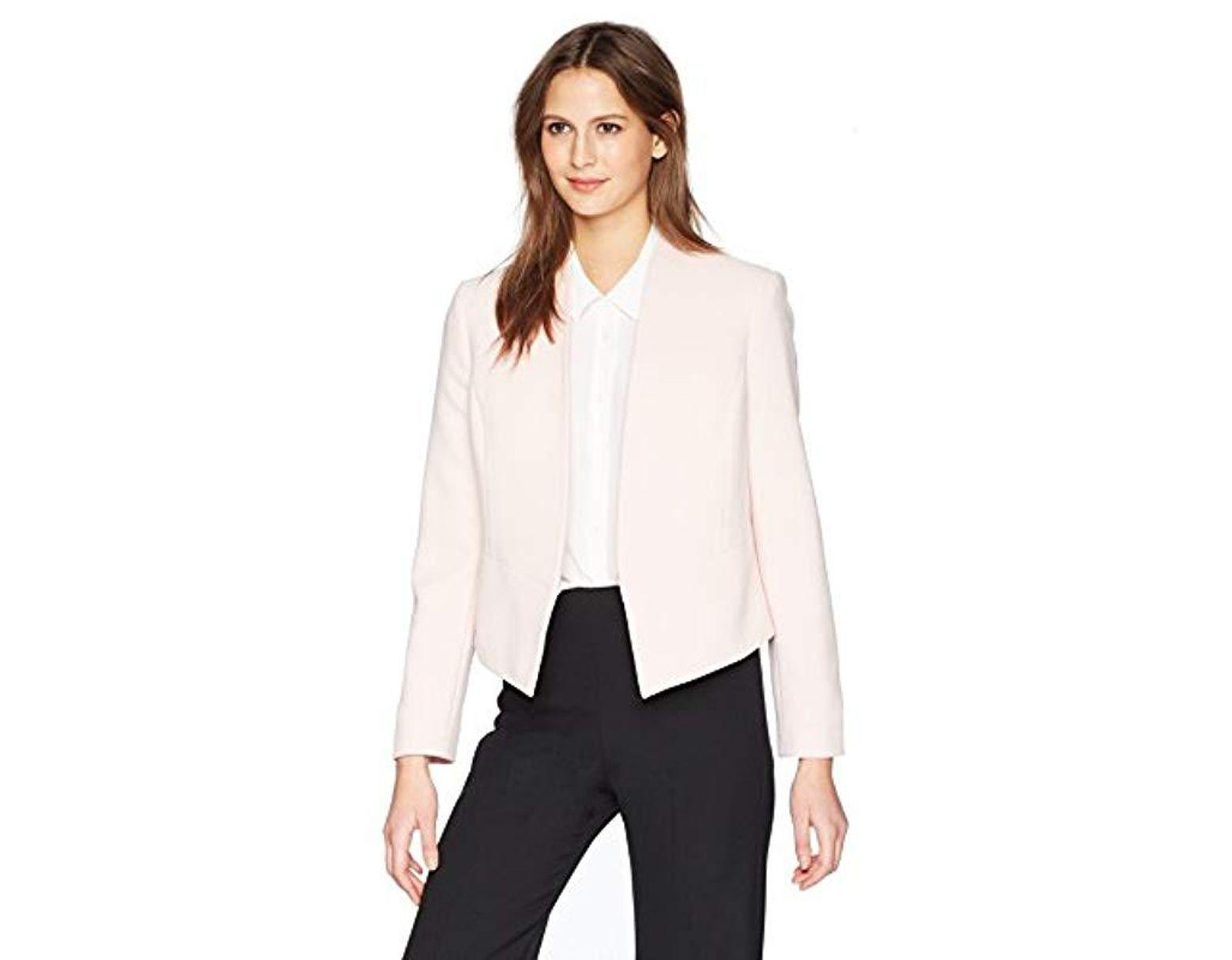 a39d4614dca Nine West Bi Stretch Open Shawl Collar Jacket in White - Lyst