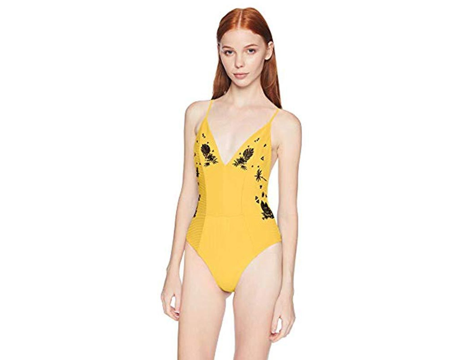 48cf5c195faaf Hurley Quick Dry Embroidered Strappy Bathing Suit in Yellow - Lyst